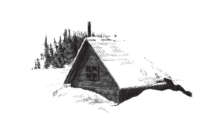 christmas cabin: sketch of house in winter forest