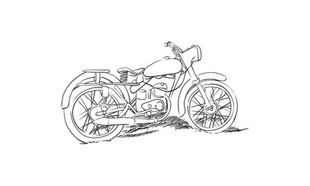 moped: sketch of old soviet motorcycle on white