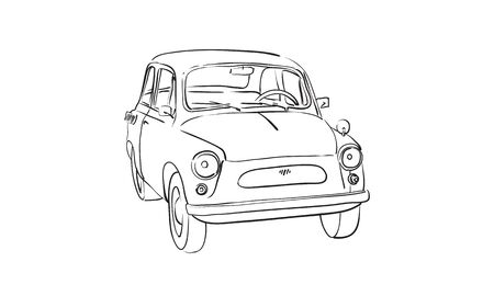 Skizze der Sowjet Oldtimer Auto