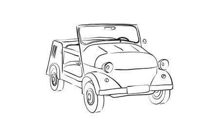 soviet: sketch of Soviet old-timer car Illustration