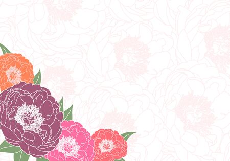 dull: floral background of bright peonies Illustration
