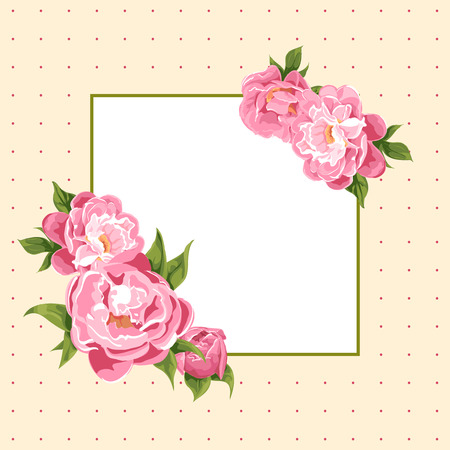 rose bouquet: floral background of bright peonies Illustration