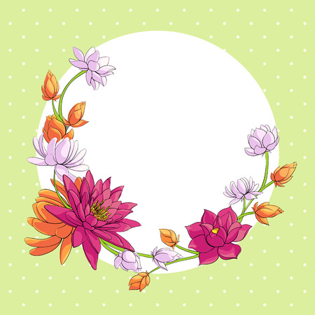 white lotus flower: floral background with some lotuses Illustration