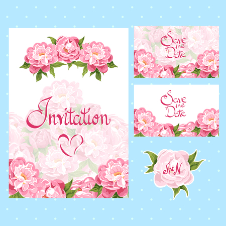 invitation cards: set of invitation cards with floral elements Illustration