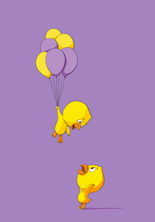 baby chicken: Two cute chicks with balloons