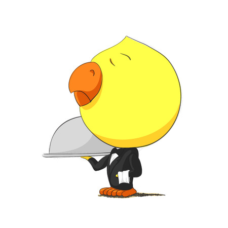 baby chicken: Cute chick character on white background