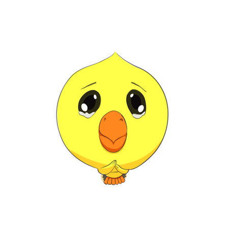 pleading: Cute chick character on white background