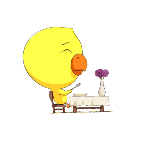 cute animal cartoon: Cute chick character on white background