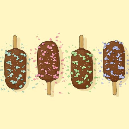 ice cream on stick: El chocolate cubrió el helado en un palo