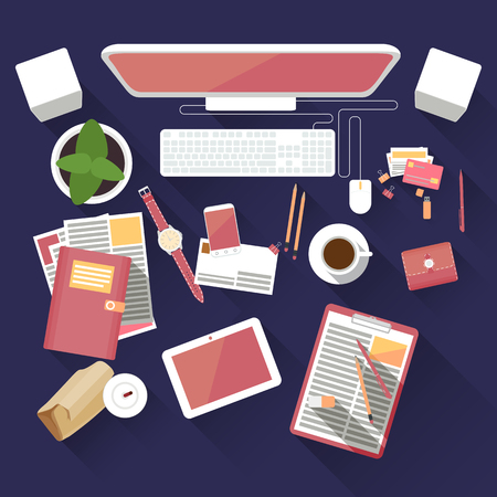 marketing concept: Flat office workspace with computer