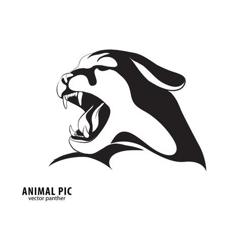 head profile: Leopard silhouette on white background Illustration