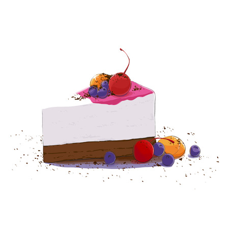 piece of cake: sweet piece of cake with fruits Illustration