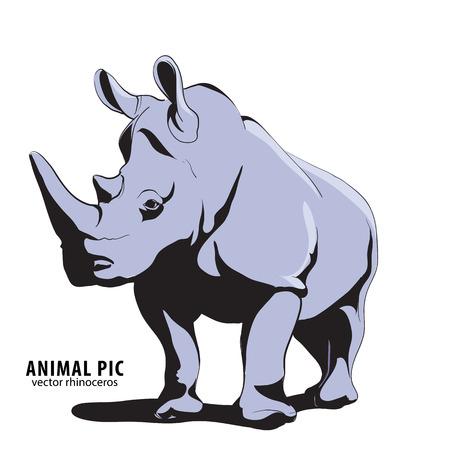 animal silhouettes: Illustration of rino on white background Illustration