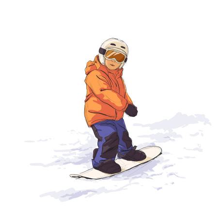 snowboarder: Kid slide with snowboard in the snow