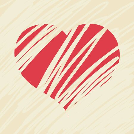 abstract love: Red drawn Love Heart Valentine postcard