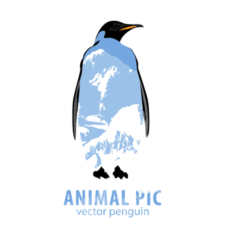 poser: Double exposure illustration of penguin and mountains Illustration