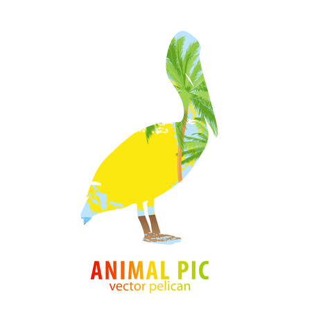 poser: Double exposure illustration of pelican and palm trees Illustration