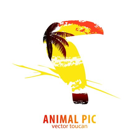 poser: Double exposure illustration of toucan and palm trees