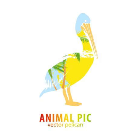 poser: Double exposure illustration of pelican and palm trees Stock Photo