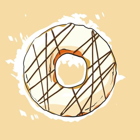 glazed: Sweet donut illustration on light background