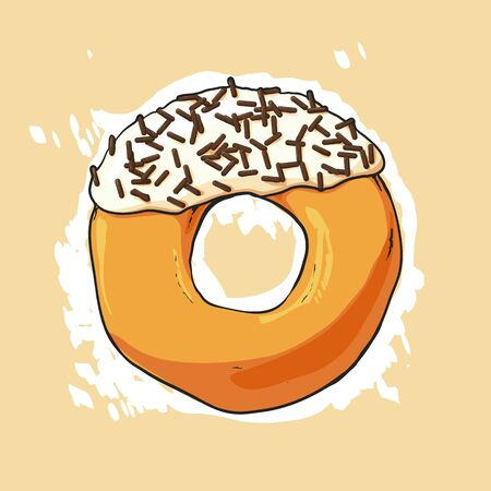 sweet background: Sweet donut illustration on light background