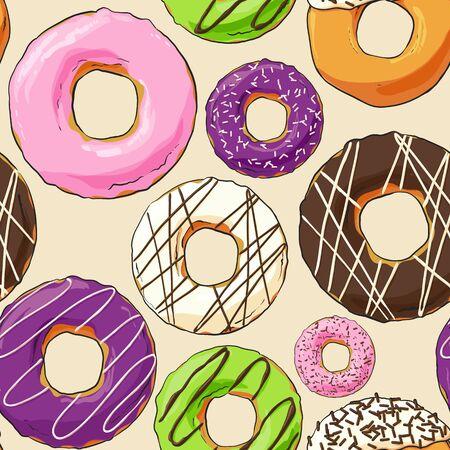 sweet background: Sweet donut seemles illustration on light background