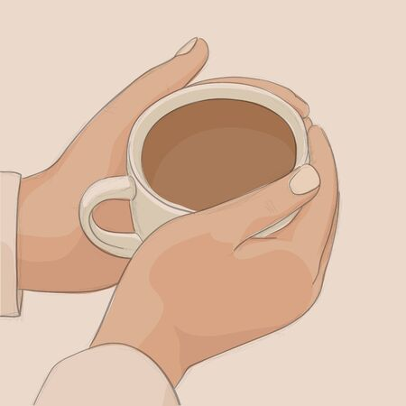woman drinking tea: Girl warms the hands with coffee mug