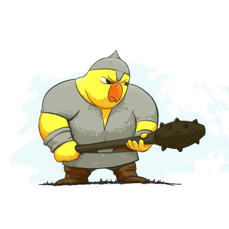 chiken: illustration of chicken warrior on white