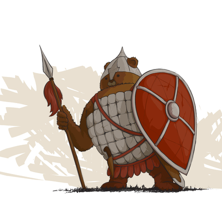 cartoon warrior: Bear warrior with a spear and shield on white