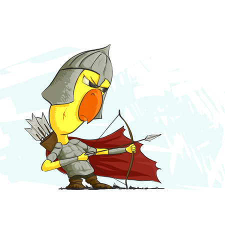 chiken: illustration of chicken archer on white