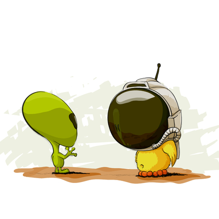 chick cartoon: illustration of space meeting with alien Illustration