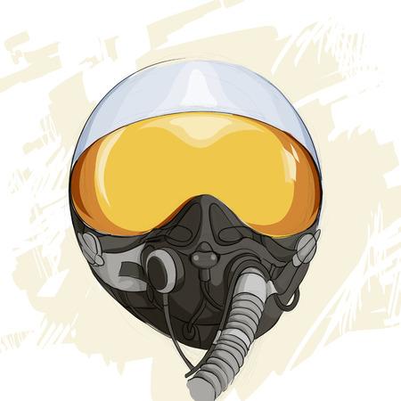 avion de chasse: Illustration militaire casque de vol Illustration