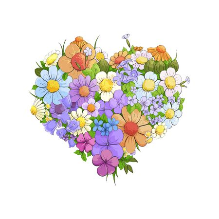 floral heart: Bright floral heart on white background