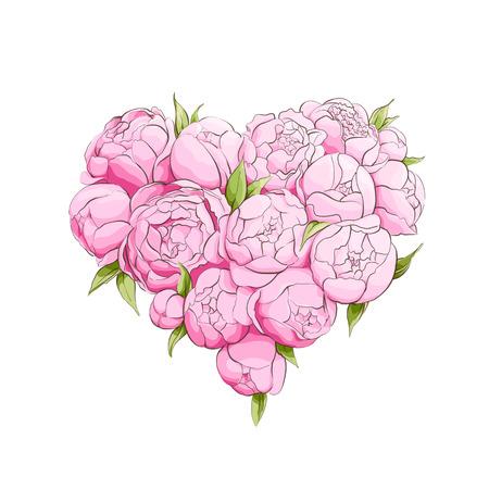 peonies: Bright peonies heart on white Illustration