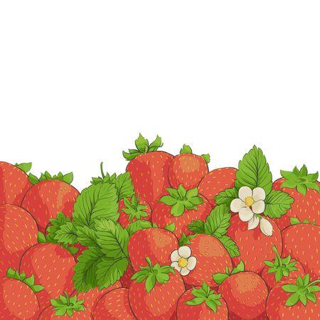 fruit stem: fresh tasty strawberries on white background