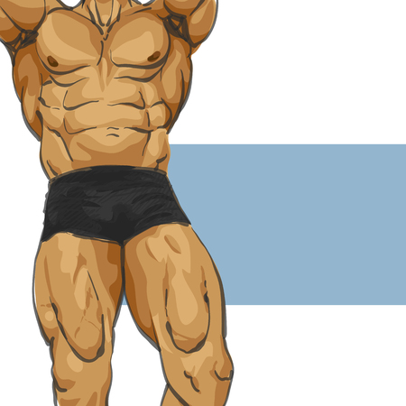body shape: Fitness muscular man body illustration