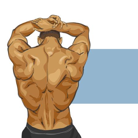 Fitness muscular man body illustration