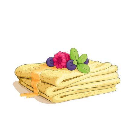 pancake stack with berries on white