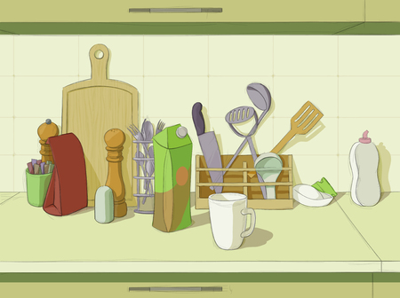 rolling bag: Kitchen still life with accessories and juice package