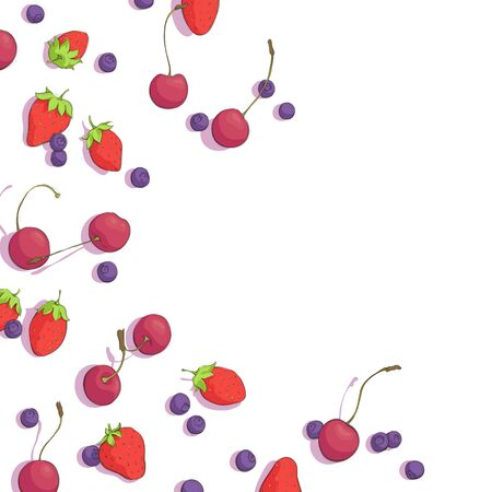 blueberries: cherries, blueberries and strawberries on white background Illustration