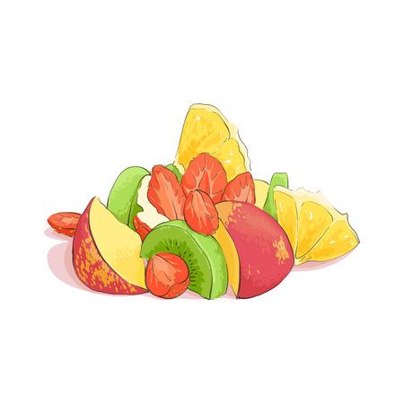 fruit salad: Mixed fruit salad on white background Illustration