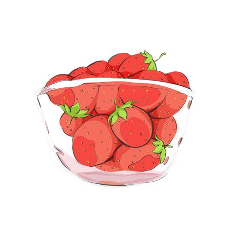 wild strawberry: Strawberries in cup on white backgound Illustration