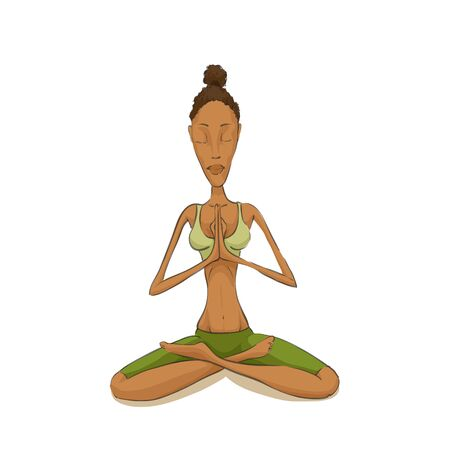 woman pose: Woman meditating in lotus pose