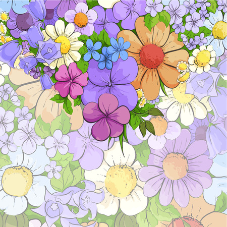 macro flowers: Floral bright background with colorful flowers Illustration