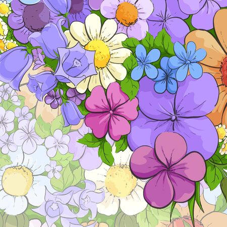 Floral bright background with colorful flowers