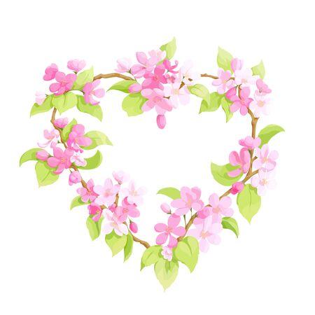 appletree: Bright floral apple tree heart Illustration