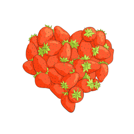 passion  ecology: Heart shape by strawberries on white background