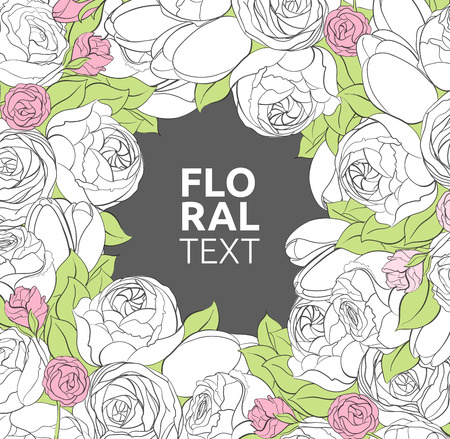 country flowers: Floral illustration with peonies, roses and tulips flowers