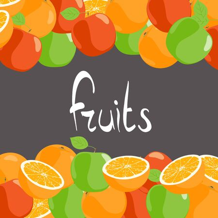 apples and oranges: Beautiful Apples and oranges against on black background Illustration