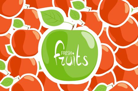 summer diet: Juicy green apple on a background of red apples